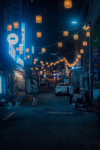 A street in Seoul on a summer night